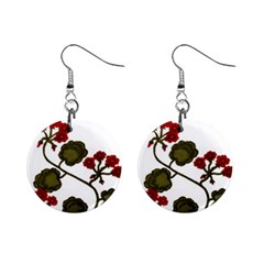 Geraniums Mini Button Earrings