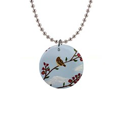 Robin On Plumb Tree Button Necklaces