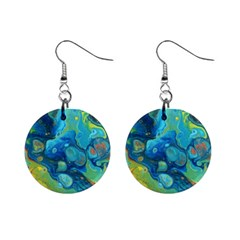 Fire Edge Nebula Mini Button Earrings