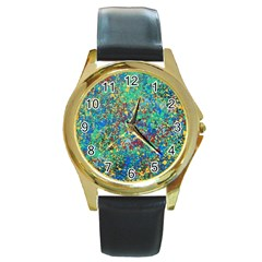 Edge Of The Universe Round Gold Metal Watch