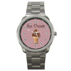 Pop Art Ice Cream Sport Metal Watch by Valentinaart
