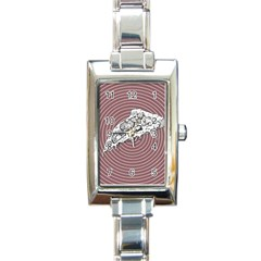 Pop Art Pizza Rectangle Italian Charm Watch