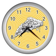 Pop Art Pizza Wall Clock (silver) by Valentinaart