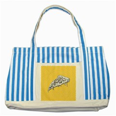 Pop Art Pizza Striped Blue Tote Bag by Valentinaart