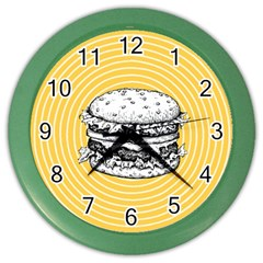 Pop Art Hamburger  Color Wall Clock by Valentinaart