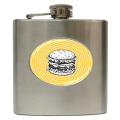 Pop Art Hamburger  Hip Flask (6 Oz) by Valentinaart