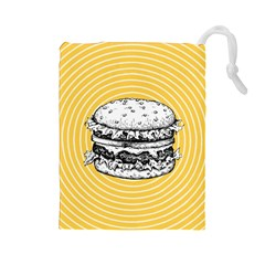 Pop Art Hamburger  Drawstring Pouch (large) by Valentinaart