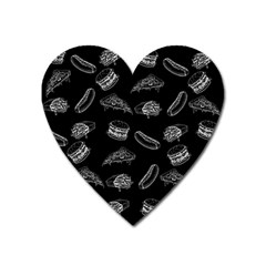 Fast Food Pattern Heart Magnet by Valentinaart