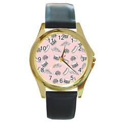 Fast Food Pattern Round Gold Metal Watch