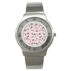 Fast Food Pattern Stainless Steel Watch