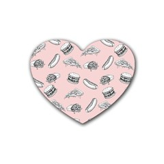 Fast Food Pattern Heart Coaster (4 Pack)