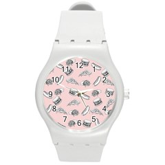 Fast Food Pattern Round Plastic Sport Watch (m)