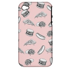 Fast Food Pattern Apple Iphone 4/4s Hardshell Case (pc+silicone)