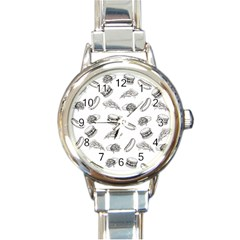 Fast Food Pattern Round Italian Charm Watch