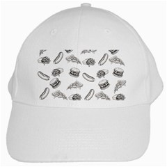 Fast Food Pattern White Cap