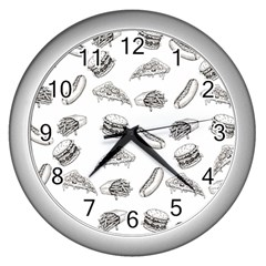 Fast Food Pattern Wall Clock (silver)
