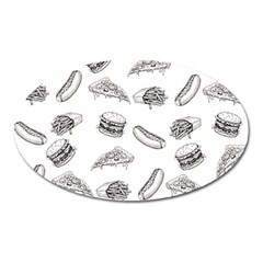 Fast Food Pattern Oval Magnet