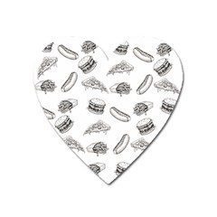Fast Food Pattern Heart Magnet