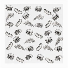 Fast Food Pattern Medium Glasses Cloth (2 Side) by Valentinaart