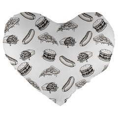 Fast Food Pattern Large 19  Premium Heart Shape Cushions
