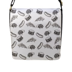 Fast Food Pattern Flap Closure Messenger Bag (l)