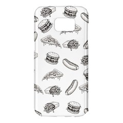 Fast Food Pattern Samsung Galaxy S7 Edge Hardshell Case by Valentinaart
