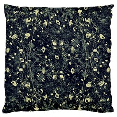 Dark Floral Collage Pattern Large Flano Cushion Case (one Side) by dflcprints