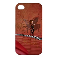 Cute Fairy Dancing On A Piano Apple Iphone 4/4s Hardshell Case by FantasyWorld7
