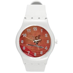 Cute Fairy Dancing On A Piano Round Plastic Sport Watch (m) by FantasyWorld7