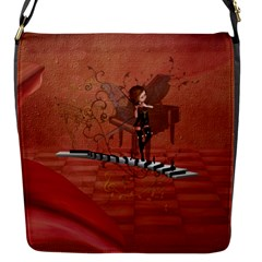 Cute Fairy Dancing On A Piano Flap Closure Messenger Bag (s) by FantasyWorld7