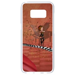 Cute Fairy Dancing On A Piano Samsung Galaxy S8 White Seamless Case