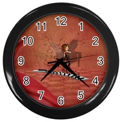 Cute Fairy Dancing On A Piano Wall Clock (black) by FantasyWorld7