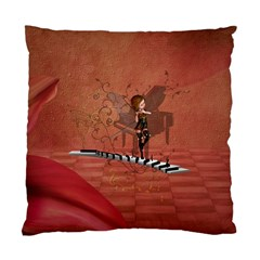 Cute Fairy Dancing On A Piano Standard Cushion Case (two Sides) by FantasyWorld7