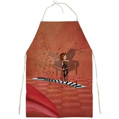Cute Fairy Dancing On A Piano Full Print Aprons by FantasyWorld7