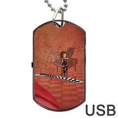 Cute Fairy Dancing On A Piano Dog Tag Usb Flash (two Sides) by FantasyWorld7
