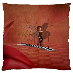Cute Fairy Dancing On A Piano Large Flano Cushion Case (one Side) by FantasyWorld7