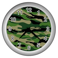 Green Military Vector Pattern Texture Wall Clock (silver) by Samandel