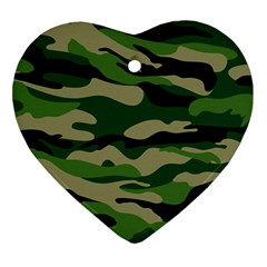 Green Military Vector Pattern Texture Heart Ornament (two Sides) by Samandel