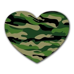 Green Military Vector Pattern Texture Heart Mousepads