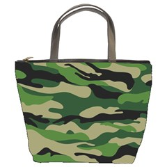 Green Military Vector Pattern Texture Bucket Bag