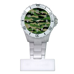 Green Military Vector Pattern Texture Plastic Nurses Watch by Samandel