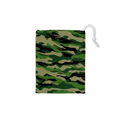 Green Military Vector Pattern Texture Drawstring Pouch (xs) by Samandel