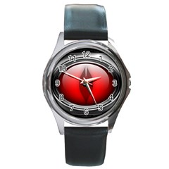 Red Eye Round Metal Watch