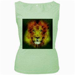 Fractal Lion Women s Green Tank Top by Samandel