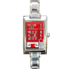 Red House Rectangle Italian Charm Watch