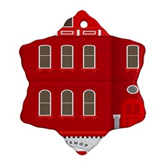 Red House Ornament (snowflake)