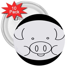 Pig Logo 3  Buttons (10 Pack)
