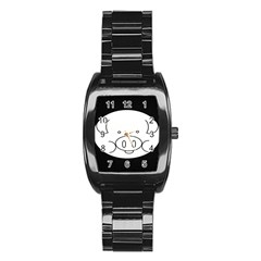Pig Logo Stainless Steel Barrel Watch by Samandel