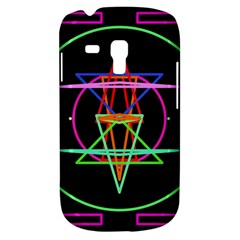 Drawing Of A Color Mandala On Black Samsung Galaxy S3 Mini I8190 Hardshell Case by Samandel