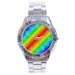 Background Diagonal Refraction Stainless Steel Analogue Watch